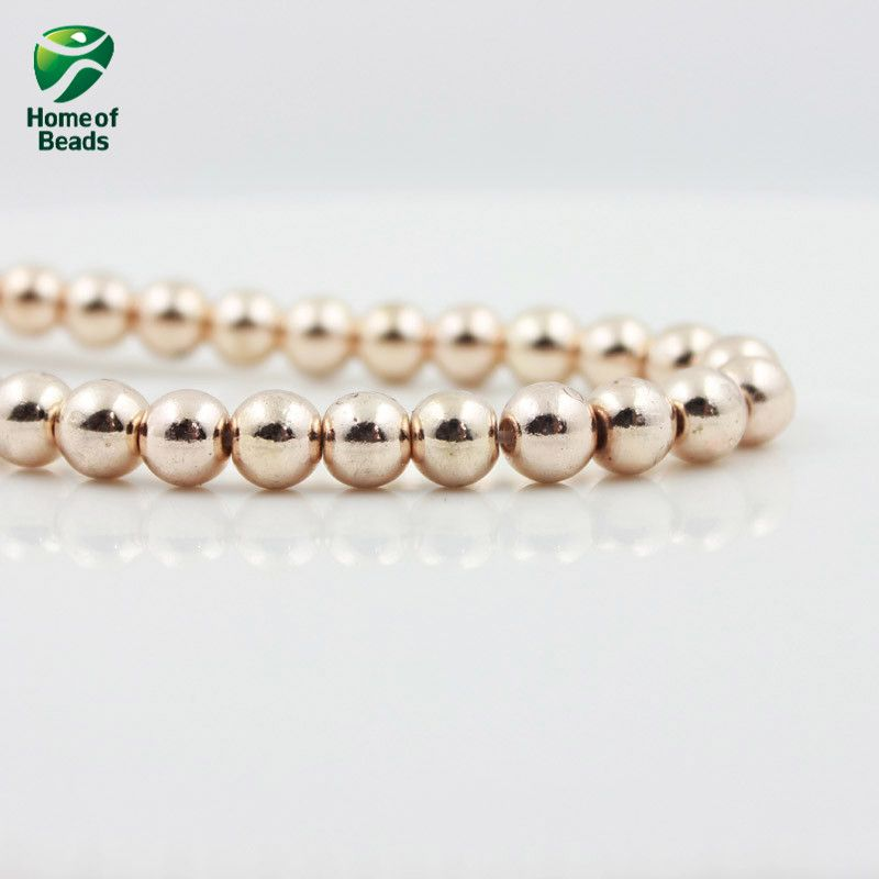 New Arrival color plated hematite Round loose gold silver rose gold