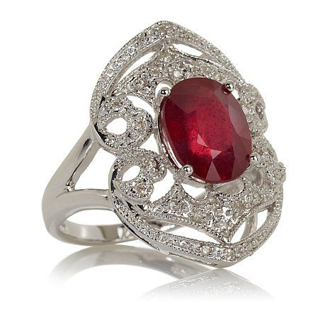 Rarities Ruby and White Diamond Sterling Silver Ring