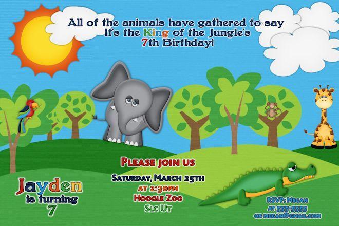 Zoo Birthday Party Invitations Zoo Animal Party Themed Invitation