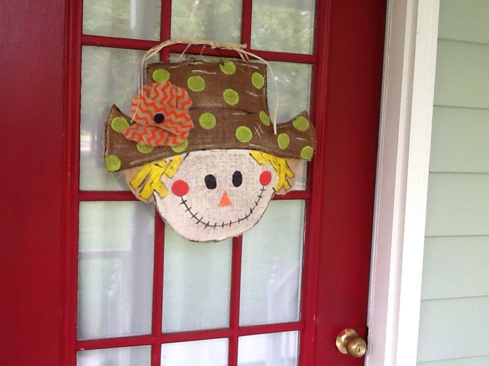 Burlap Scarecrow Door Hanger with Chevron Flower by Burlapulous
