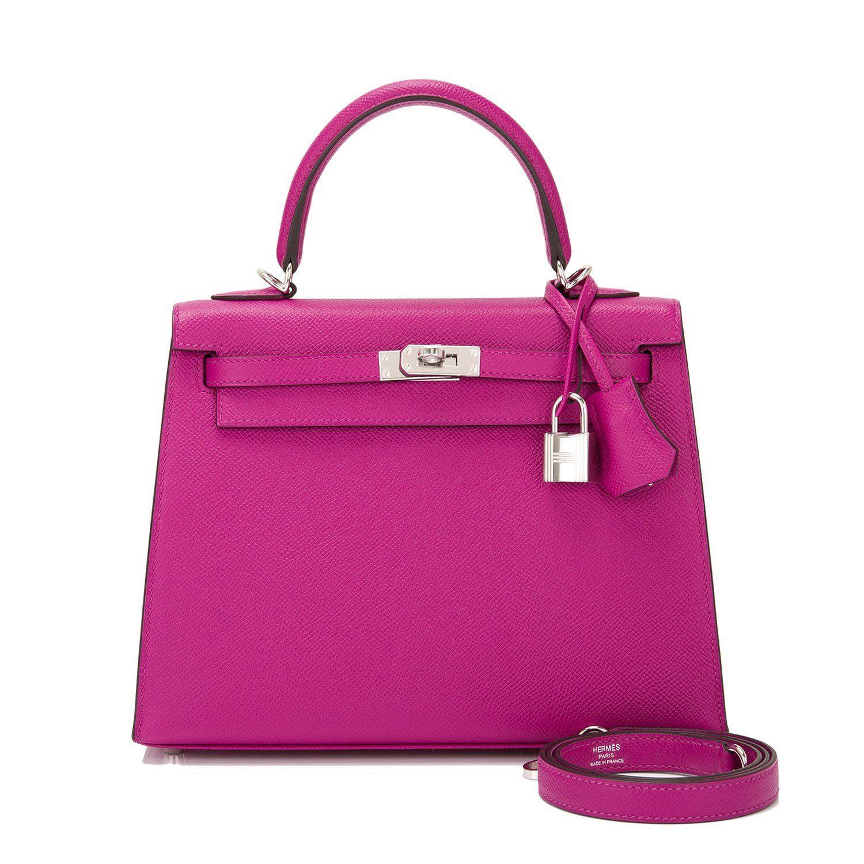 Hermes Sellier Kelly Bag 25cm Rose Pourpre Epsom Palladium Hardware ... 35aefbc96fbef