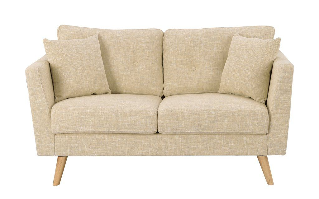 Gisela Retro Linen Fabric Loveseat With Wooden Legs Love Seat Loveseats For Small Spaces Sofa Bed For Small Spaces