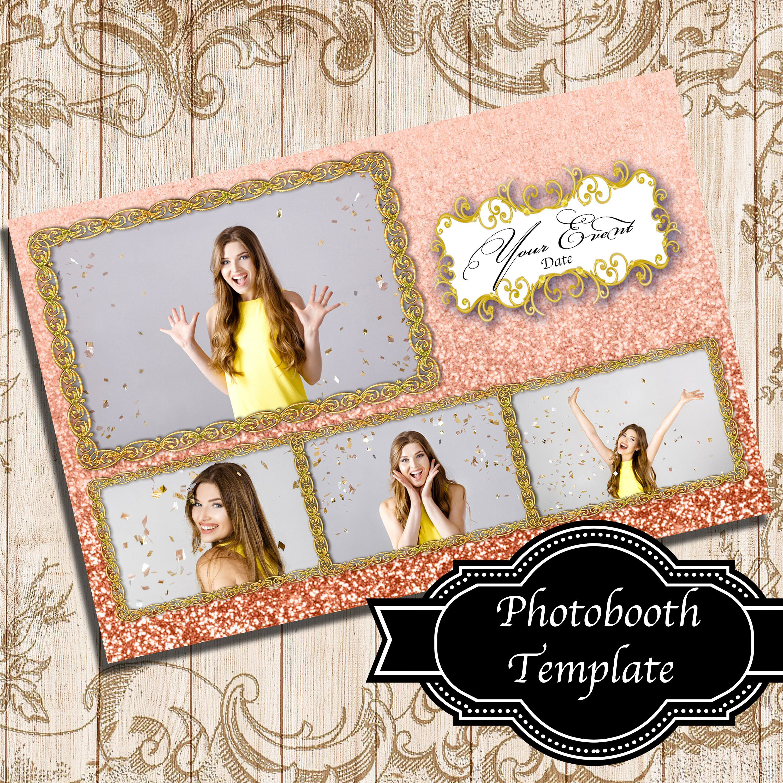 Rose Gold Glitter 4x6 4 Photos Template Photobooth Template Picture Templates Photo Booth