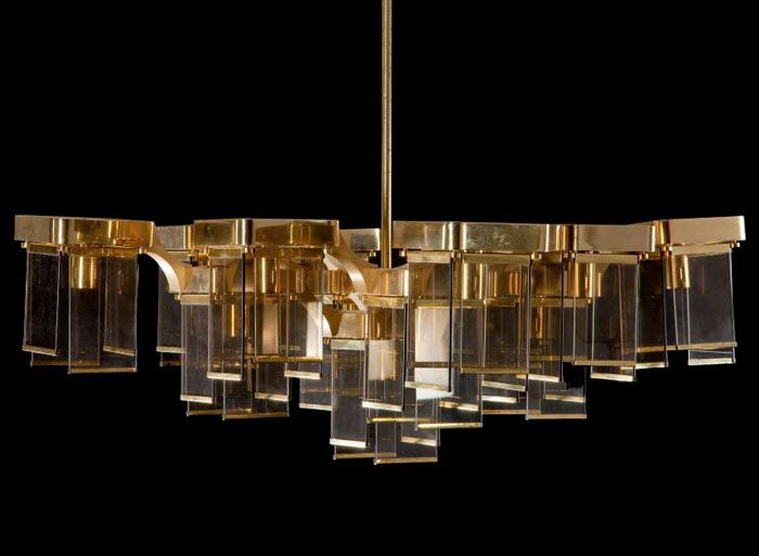 Large brass and glass chandelier by Sciolari – Chandeliers Brass