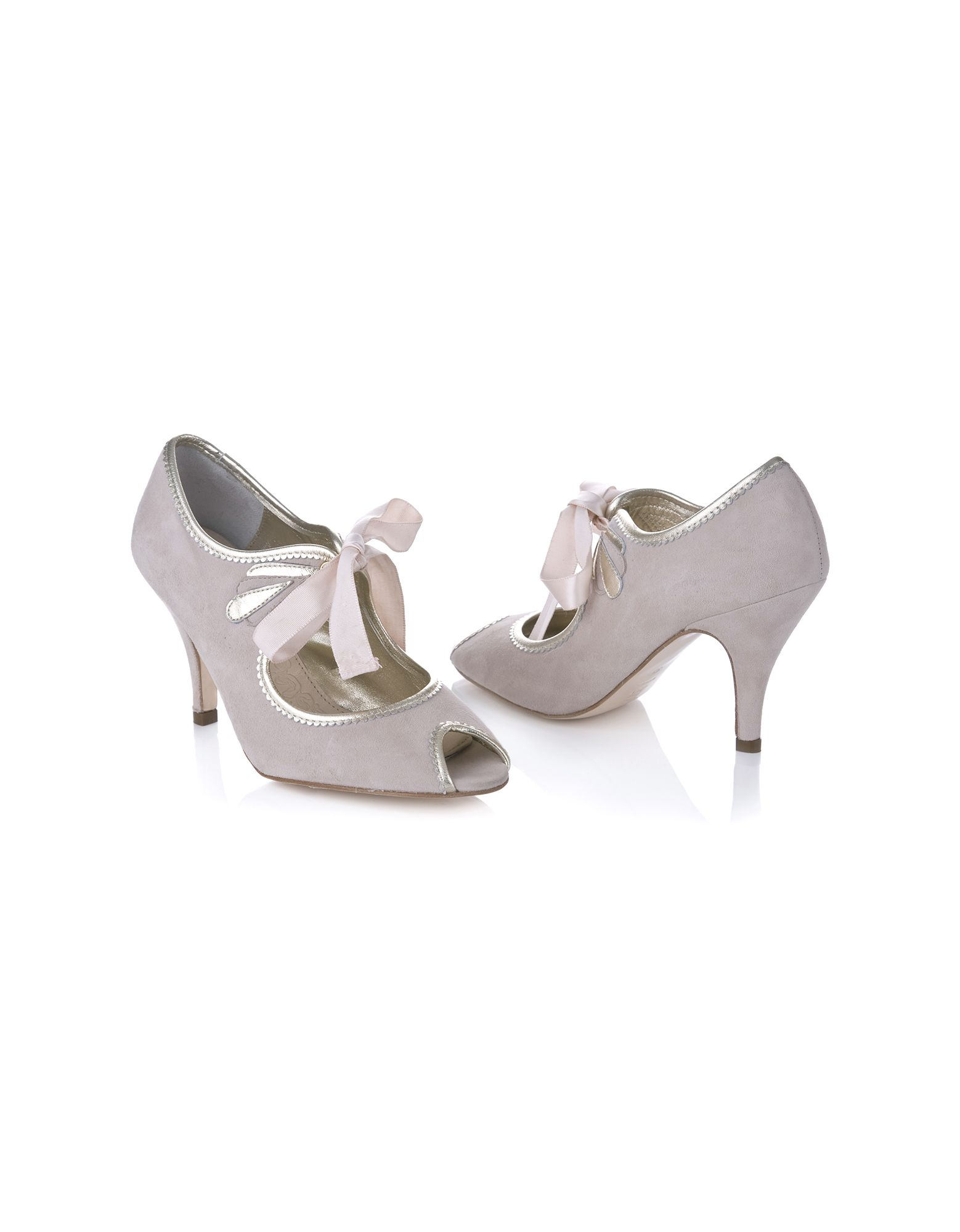 ebf6b48a1 Agnes Blush Suede Wedding Shoes are super pretty little Peep Toe-toes with  a cute vintage look. They are made from beautifully soft kid suede in a  subtle ...