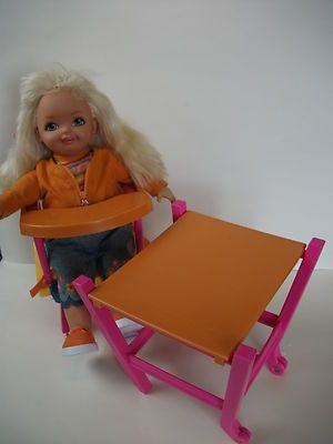 2001 Large Barbie Cuddly Soft Kelly Plush Doll with Convertible High Chair / Art Table RARE!