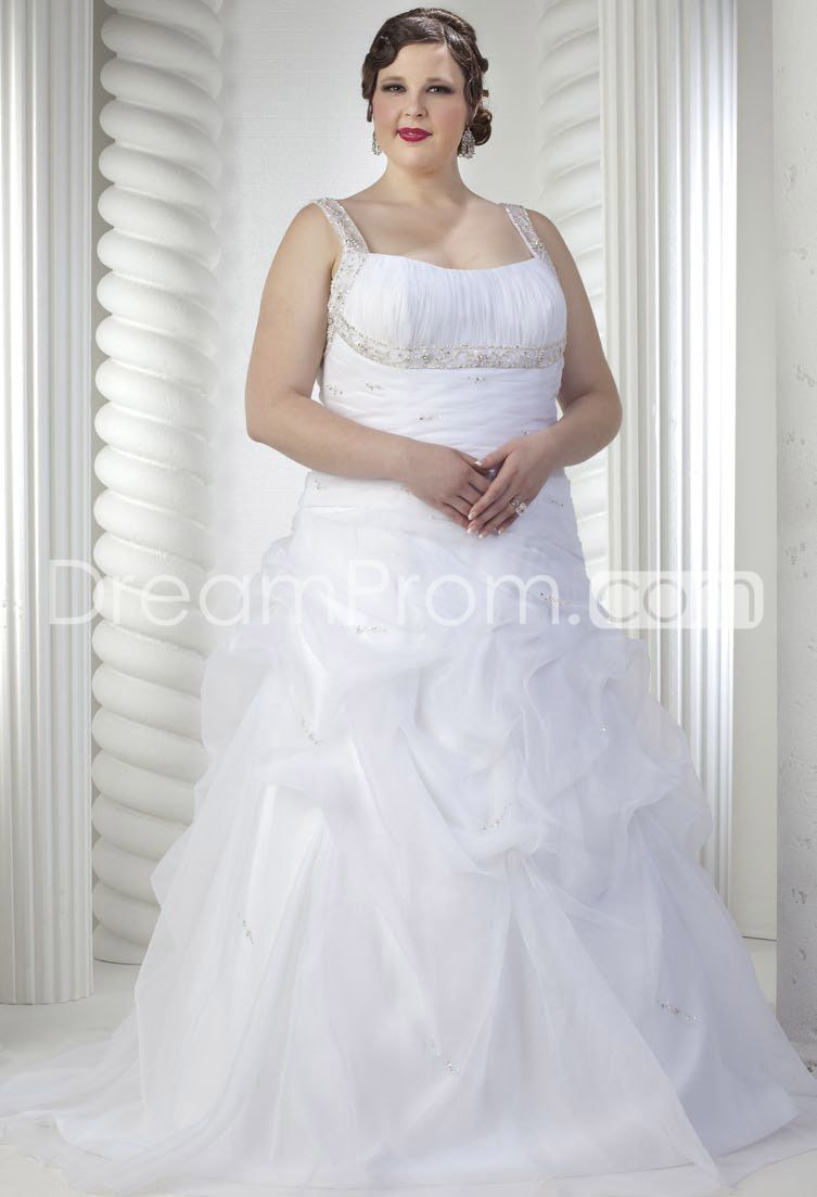 Gorgeous A-line Square Floor-Length Chapel Ruched Plus Size Wedding Dresses