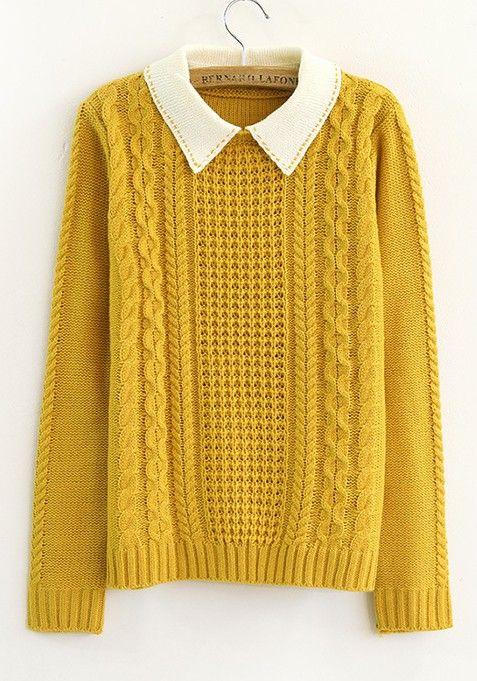 060d0268f5 yellow turndown collar long sleeve cotton blend cardigans ...
