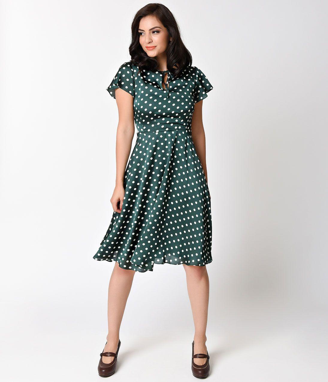 Unique Vintage 1940s Style Emerald & Ivory Polka Dot Formosa Swing ...