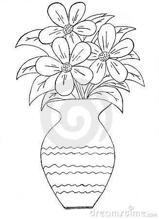 Pin By Shehnaz Khayoom On Sketches Of Flowers In A Vase Pinterest