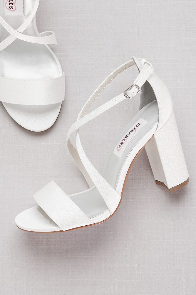 Dyeable Crisscross Strap Block Heel