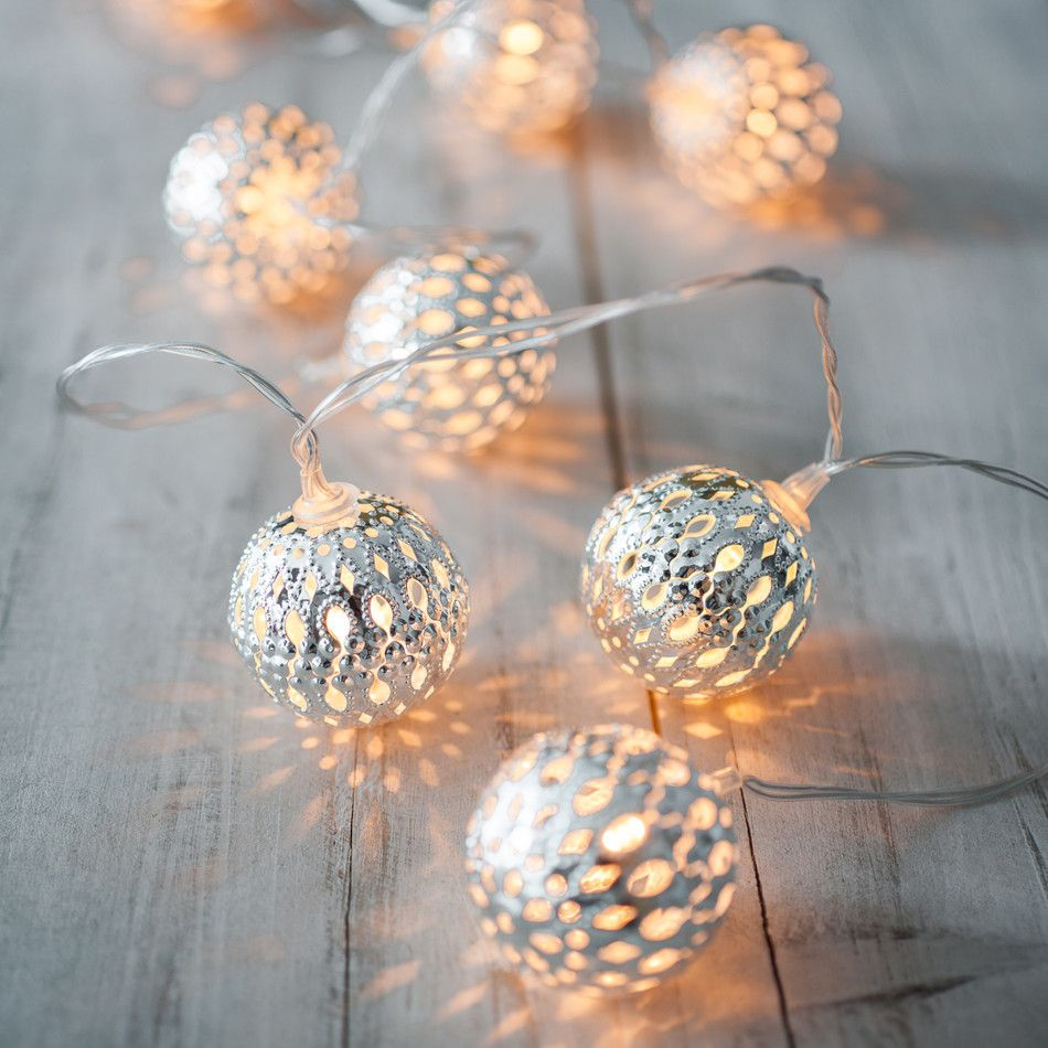 10 silver moroccan orb battery fairy lights lights4fun limited discounts available now velice battery operated silver moroccan orb led fairy lights with 10 warm white leds at christmas home decor mozeypictures Gallery