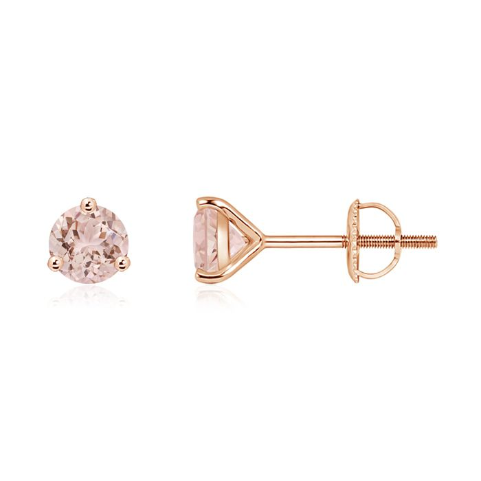 Angara Round Morganite Celtic Knot Stud Earrings with Diamond IqtJqSCX
