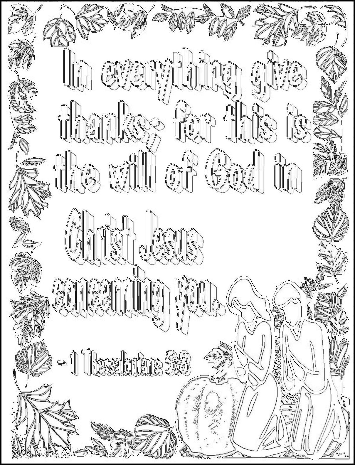 In Everything Give Thanks Coloring Page Christian Life Memory