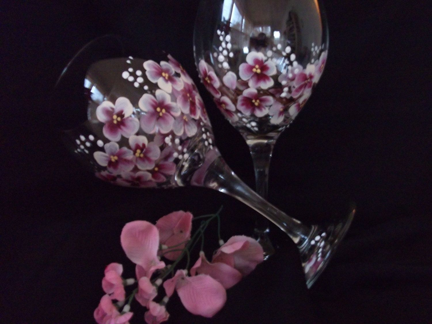 Cherry Blossom Hand Painted Wine Glasses by SusanRuthCreations on Etsy https://www.etsy.com/listing/125041044/cherry-blossom-hand-painted-wine-glasses