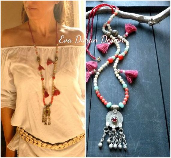 Reserved item boho necklace with vintage kuchi pendant and agathes gipsy necklace with kuchi pendant and agathes ethnic mala fusion jewelry ooak eva duran aloadofball Gallery