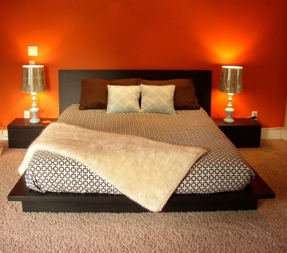 Master Bedroom Orange Accent Wall Decorative Bedroom