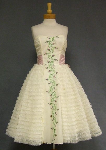 Ruffled Chiffon Strapless 1960s Prom Dress w/ Floral Embroidery ...