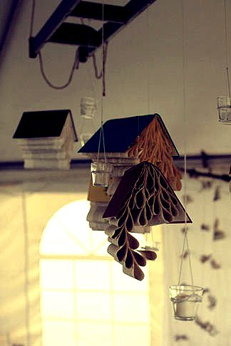 mobiles made by hanging #books and curling #pages what makes my - Culring Pajis