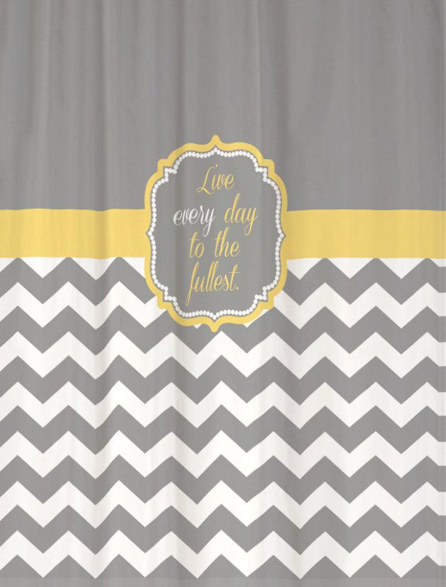 Shower Curtain Cool Gray Half Chevron With Butter Yellow Accents 69x70 Favorite Quotation Chevron Shower Curtain Bathroom Paint Colors Yellow Bathrooms