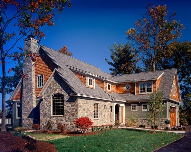I Absolutely Love The Half Brick Half Wood Look The Chimney Is Adorable As Well Stone Exterior Houses House Designs Exterior House Exterior