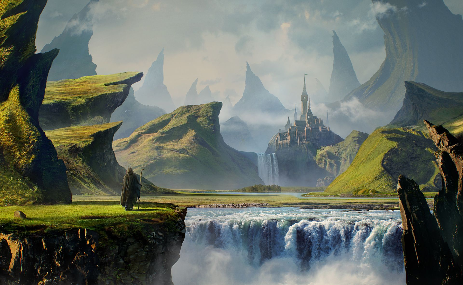 Fantasy Landscape Pilgrim Gothic Mountain Waterfall Castle Wallpaper