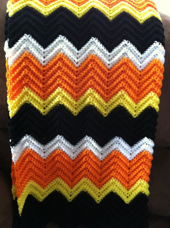 Handmade Halloween Chevron Crochet Afghan by EnchantedPrimitives ...
