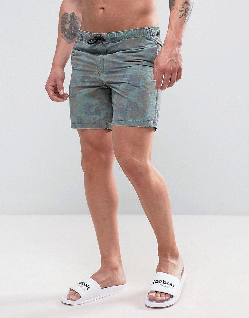 ASOS Swim Shorts With Acid Wash Camo Print In Mid Length at asos.com