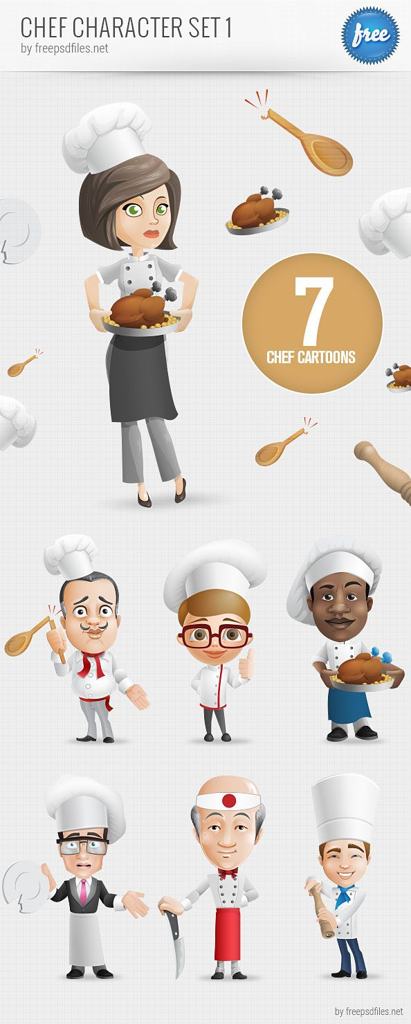 Cartoon restaurant free vector graphic download - Chef Vector Character Set Containing 7 Different Characters That S A Free Psd File That Will Come In Handy For Web And Print Projects
