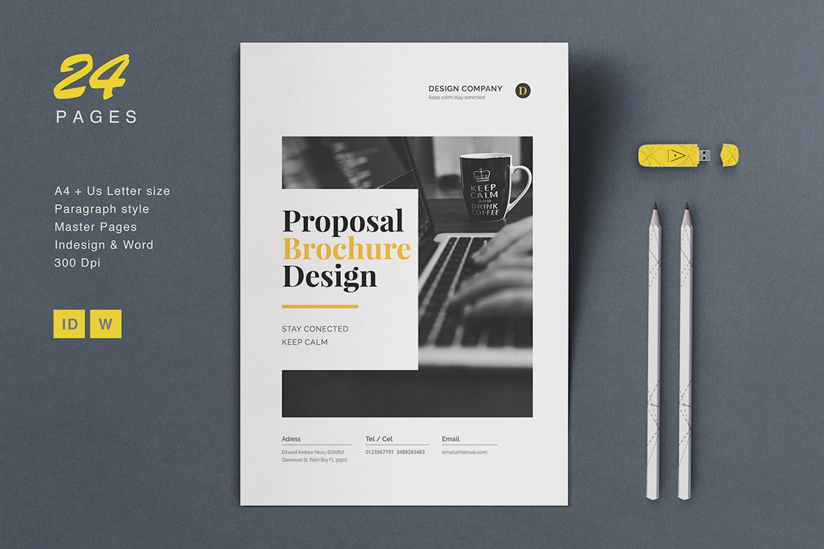 24 pages minimal proposal brochure in word and indesign format