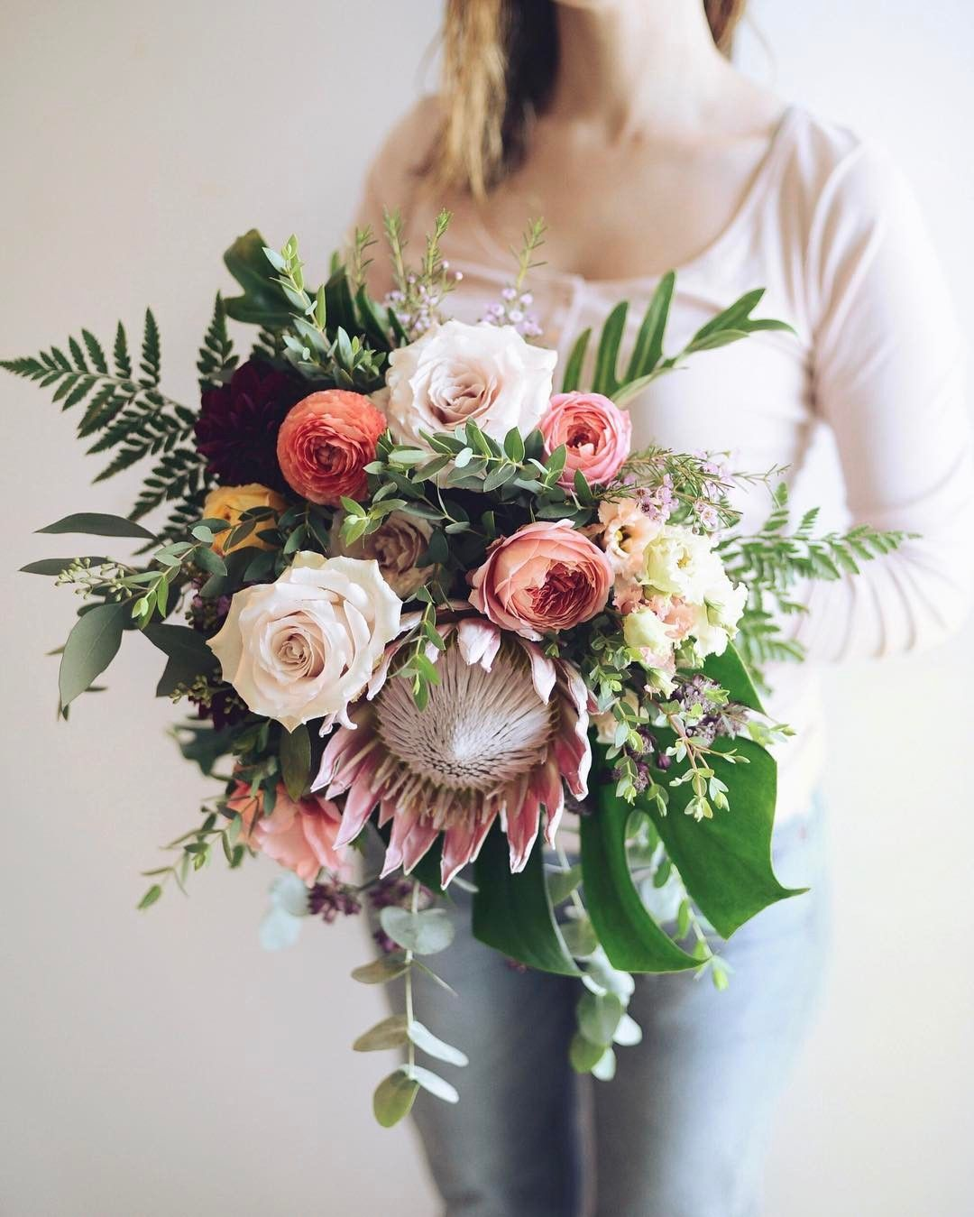 King Protea Bridal Bouquet By Threads Blooms Wedding Bouquets Bride Beautiful Bridal Bouquet Wedding Flower Inspiration