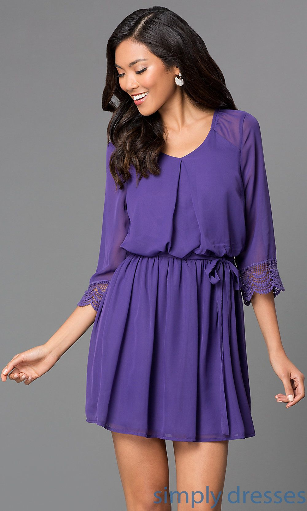 Dress short lilac speechless dress jacj with half sleeves