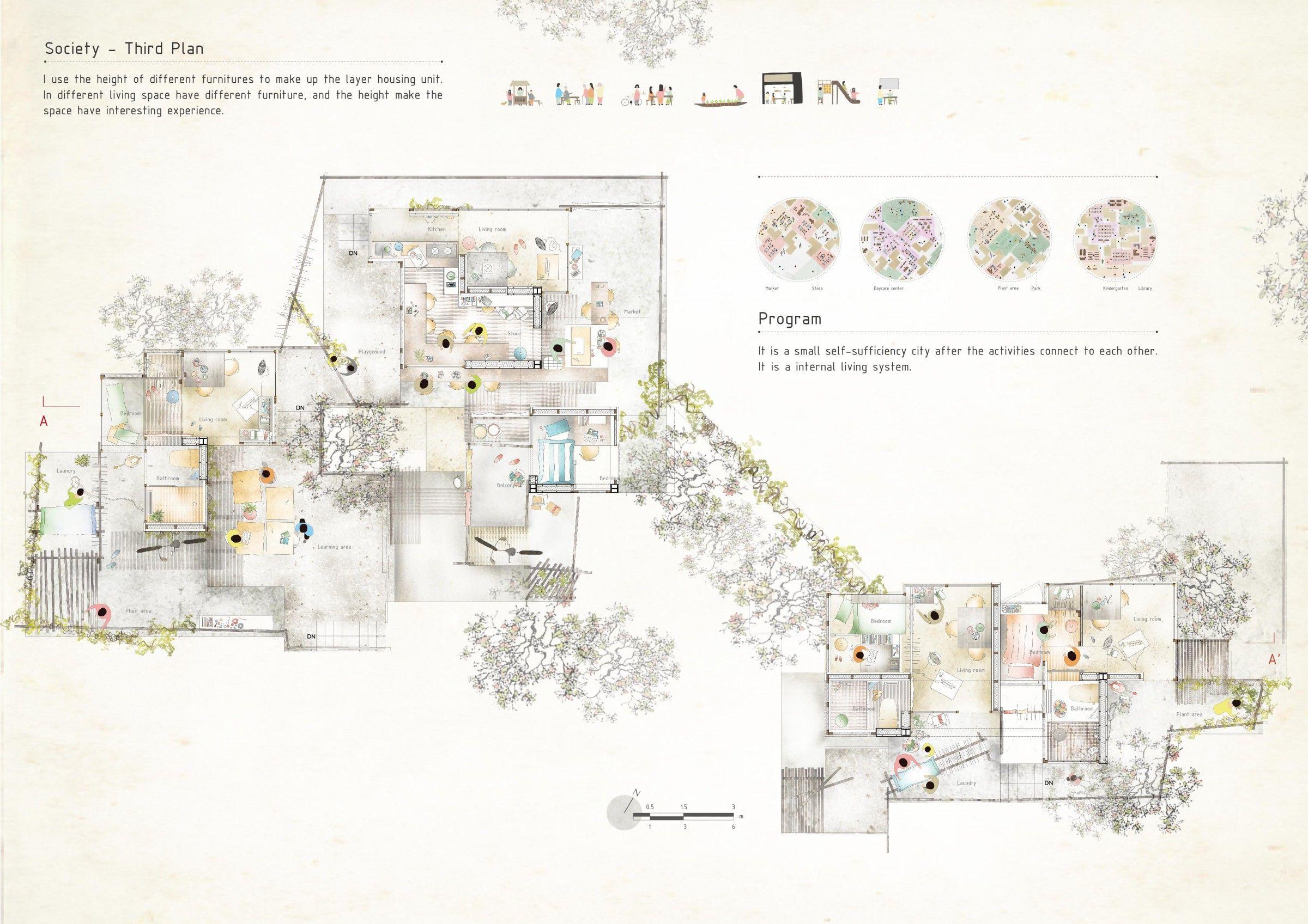 architecture rendering presentation perspective plan model