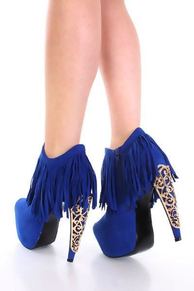 Royal Blue Faux Suede Fringe Gold Decor High Heel Booties ...