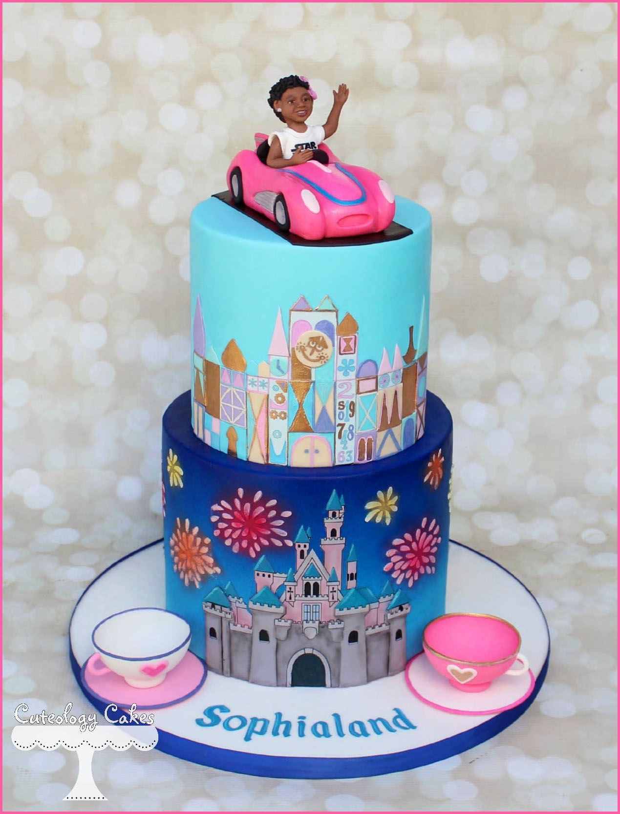 Peachy Disneyland Themed Cake With Its A Small World Teacups Autopia Funny Birthday Cards Online Chimdamsfinfo