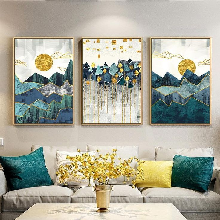 Geometrische Berglandschaft Wandkunst   - Canvas Prints #paintinglivingrooms