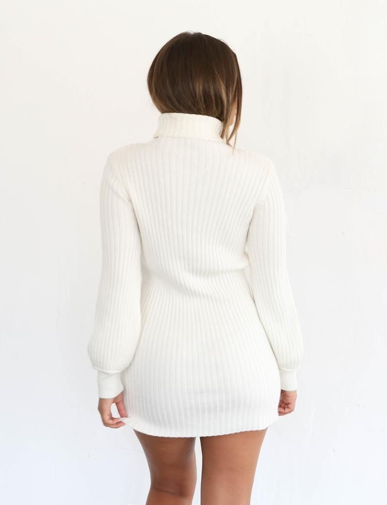 0c290108dc0 Naamah White Long Sleeve Knit Mini Dress