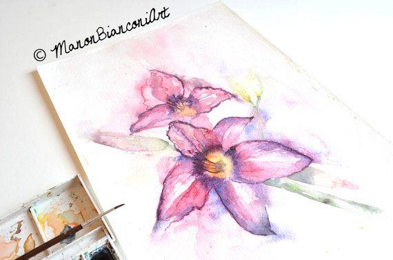 Aquarelle Originale Fleur De Lys Rose Et Par Manonbianconiart