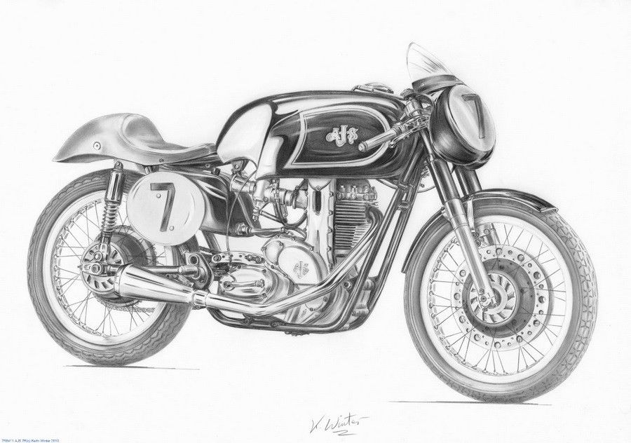 Motorcycle Artwork Pencil Drawing Of A J S 7r By Keith Winter
