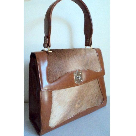 Vintage 1960 S Faux Leather Pony Hair Handbag 49 00