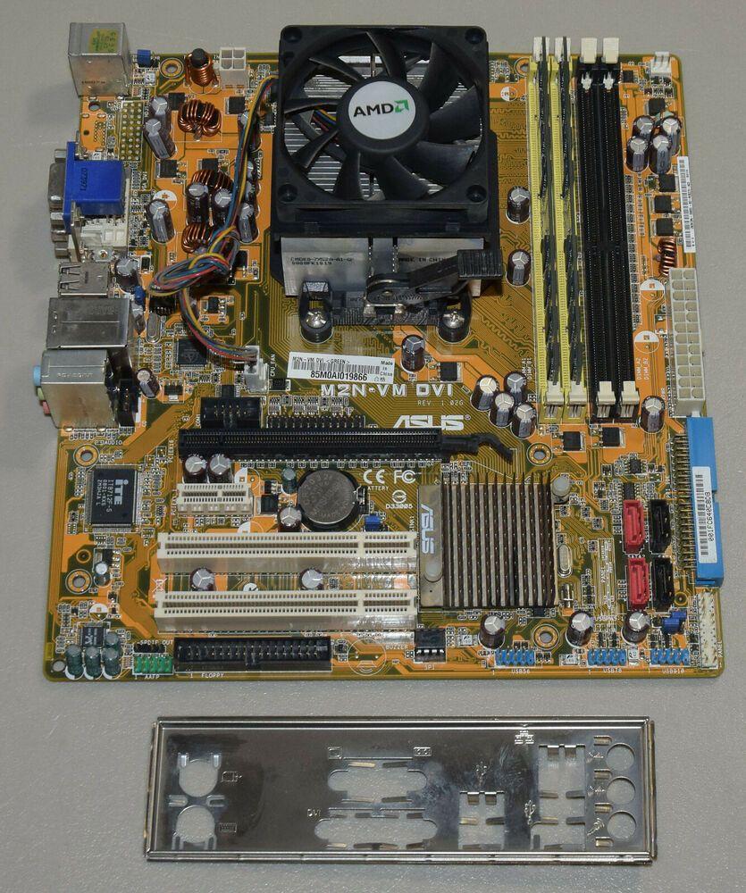 Asus M2n Vm Dvi Motherboard Cpu Combo Amd Athlon 64 X2 5000 2 6ghz 4gb Shield