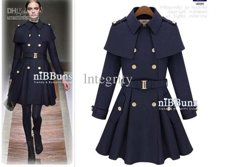 Sweety Girls Solid Color Double Breasted Turndown Collar Tailored Trench Coat