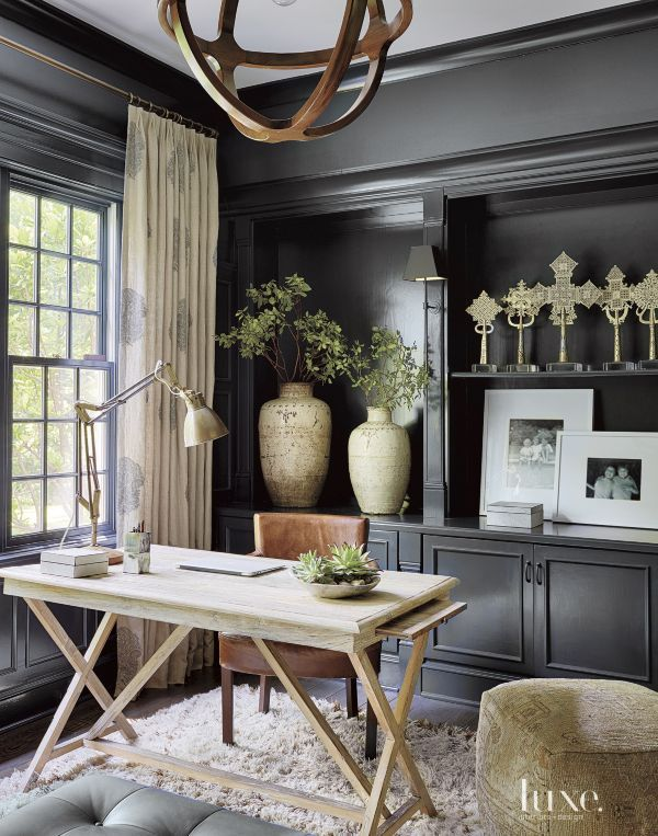 Contemporary Black Library Home Office Decor Home Office Design Interior Design