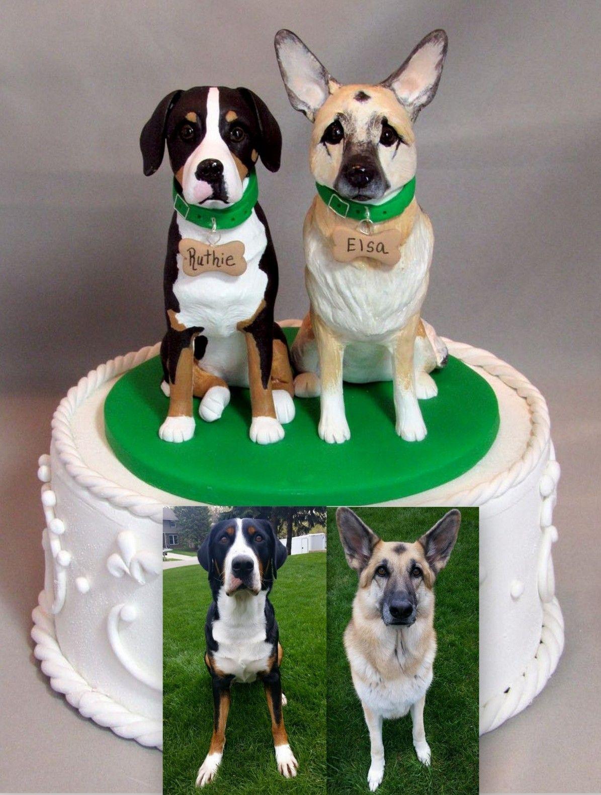 Dog Cake Accessories : Custom Wedding Cake Topper German Shepherd & Greater Swiss ...