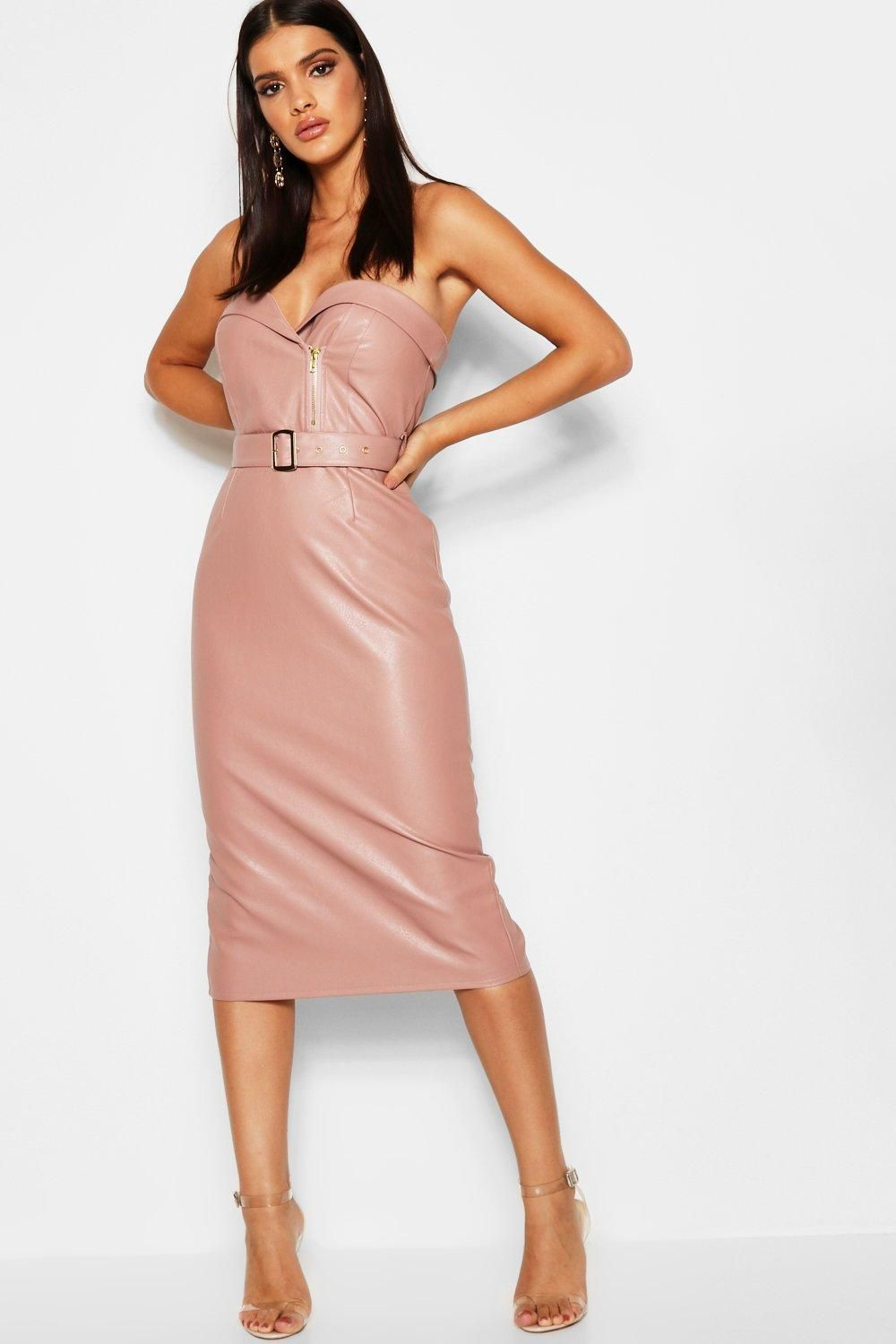 2a5c7b2f7ad18 PU Belted Bandeau Midi Dress in 2019 | women outfit | Dresses ...
