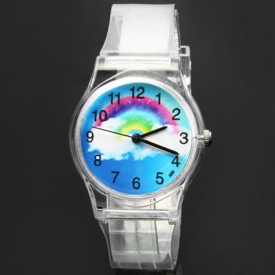 $2.75 (Buy here: http://appdeal.ru/asas ) A859 Quartz Watch Rainbow Round Dial Plastic Strap Lady Wristwatch for just $2.75