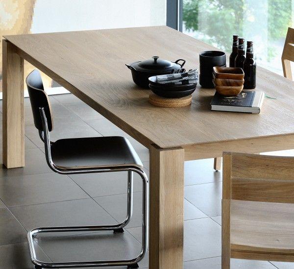 The Oak Table Extendable Slice Is An Original Production Of The Belgian Brand Ethnicraft Tavoli Da Pranzo Tavolo Di Quercia Tavoli