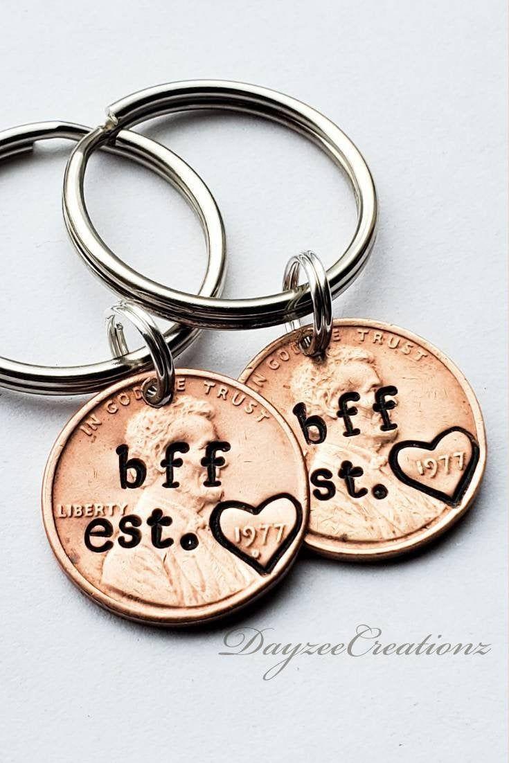 Custom personalized bff penny keychain best friend gift