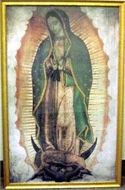 Picture of Our Lady of Guadalupe Picture - Golden Wood Frame - Size 36