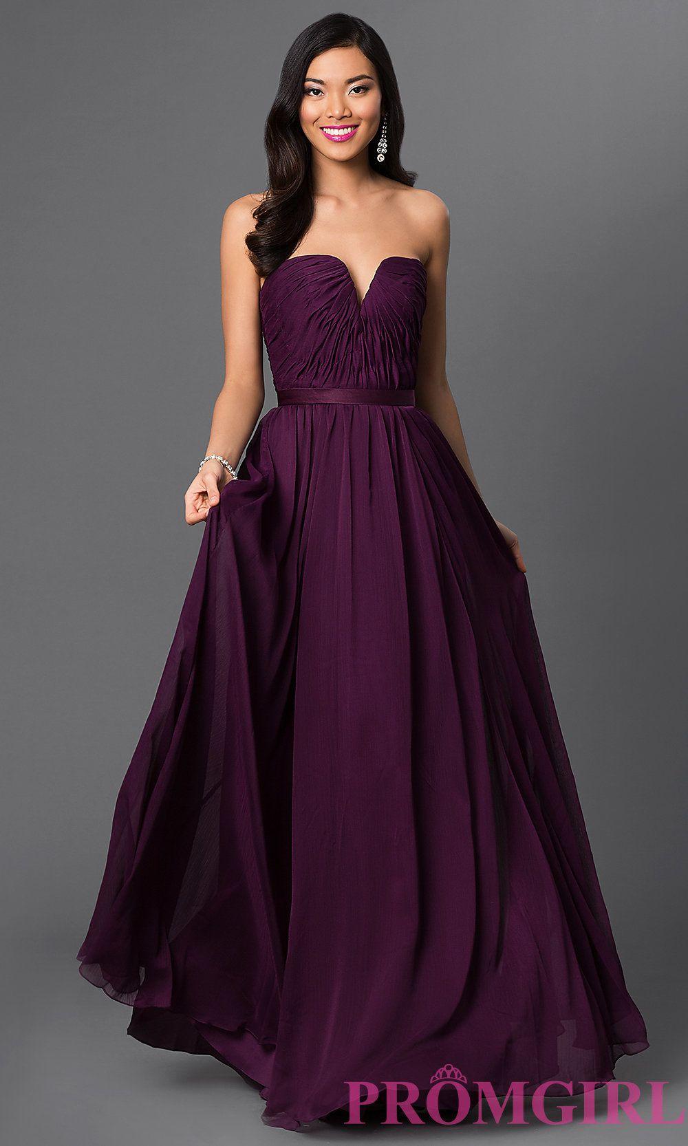 Long purple dresses strapless purple bridesmaid dress promgirl